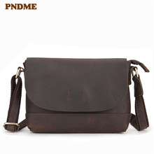 PNDME fashion vintage genuine leather men women small shoulder crossbody bags casual simple for ladies daily handmade cowhide