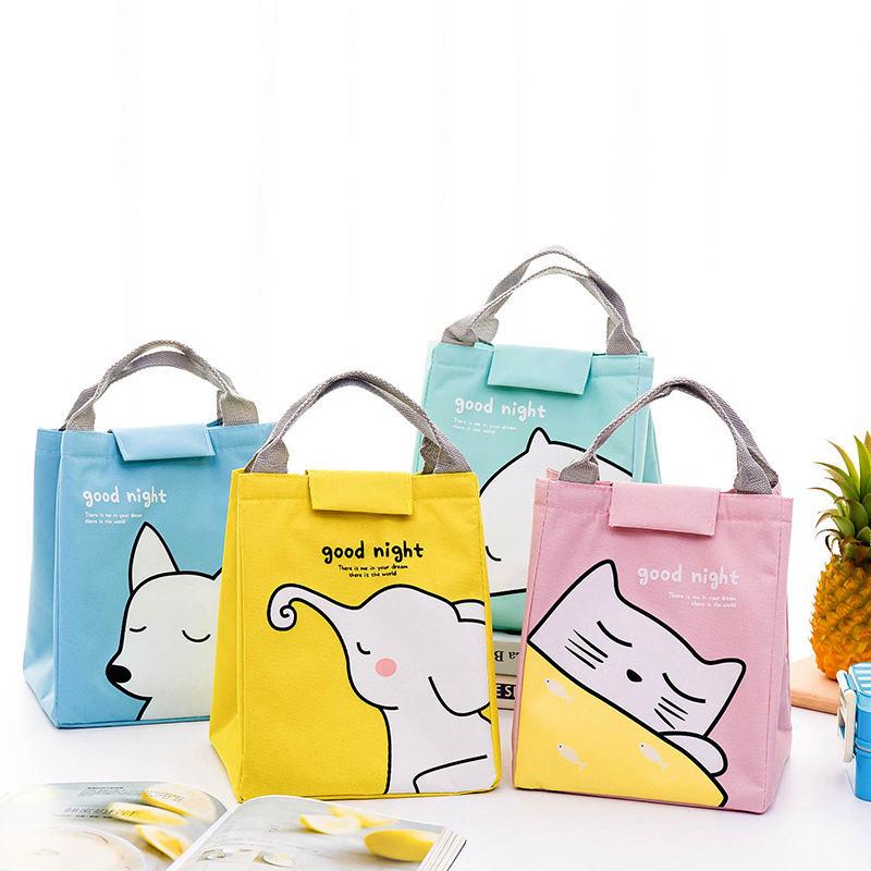 Cute Girl Portable Animal Cat Zipper Canvas Lunch Bag Waterproof Insulated Cold Picnic Totes Carry Case Kids Women Thermal Bag