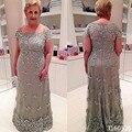Plus Size Mãe dos Vestidos de Noiva Lace Applique Mãe do Noivo Vestido de Noite Do Vintage Vestidos para casamentos