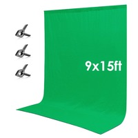 Neewer 9 x 15 feet/2.7 x 4.6 meters Green Chromakey Muslin Backdrop Background Screen for Photo Video Studio Photography