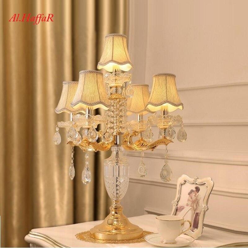 Işıklar ve Aydınlatma'ten Masa Lambaları'de Lüks moda kristal masa lambası yatak odası başucu lambaları modern dekorasyon masa lambası E14 mum üst kristal masa Lüks
