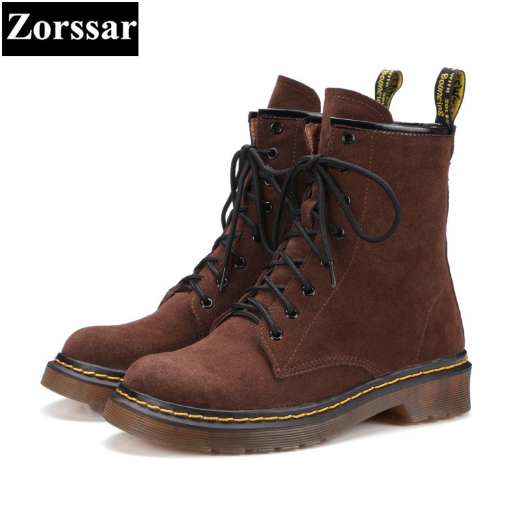 {Zorssar} 2017 NEW arrival Casual lace-up Cow Suede Flat heel ankle Boots women flats Martin boots Spring autumn women shoes front lace up casual ankle boots autumn vintage brown new booties flat genuine leather suede shoes round toe fall female fashion