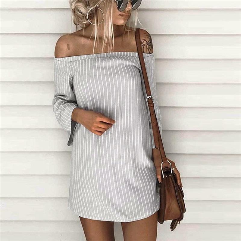 snowshine YLI Women Pullover Striped T-Shirt Dress Slash Neck Mini Dress free shipping