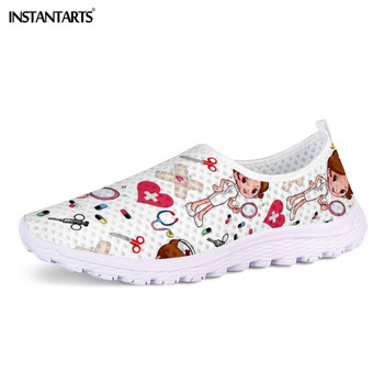 INSTANTARTS New Cartoon Nurse Doctor Print Women Sneakers Slip On Light Mesh Shoes Summer Breathable Flats Shoes Zapatos planos 1