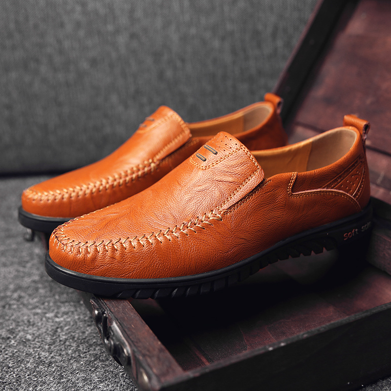 Genuine Leather Men Casual Shoes Luxury Brand Designer Mens Loafers Moccasins Breathable Slip on Driving Shoes Plus Size 37-47