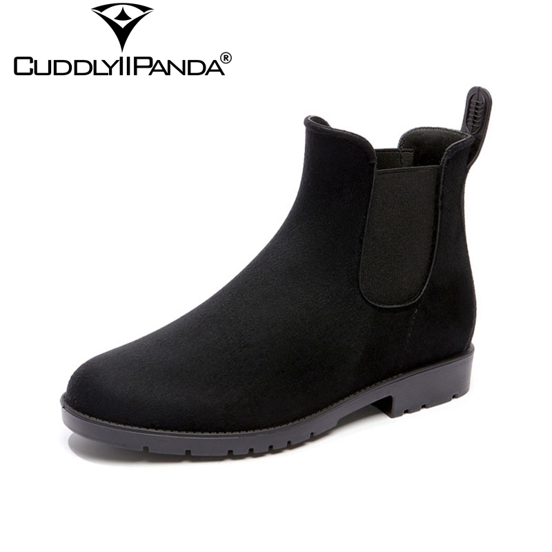 CuddlyIIPanda 2019 New British Style Suede Fashion Rain Boots PVC Women Chelsea Boots Waterproof Ankle Boots Red Botas Mujer suede