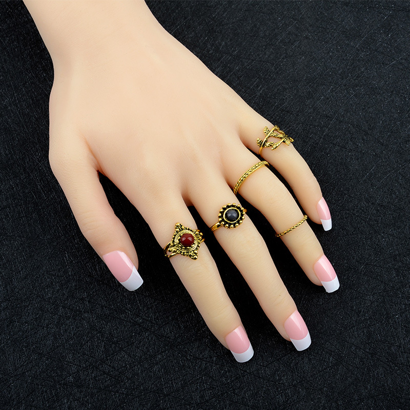 New Gold color Rings 5Pcs Rings Set For Women Punk Vintage Style Stone Party Ring Fashion