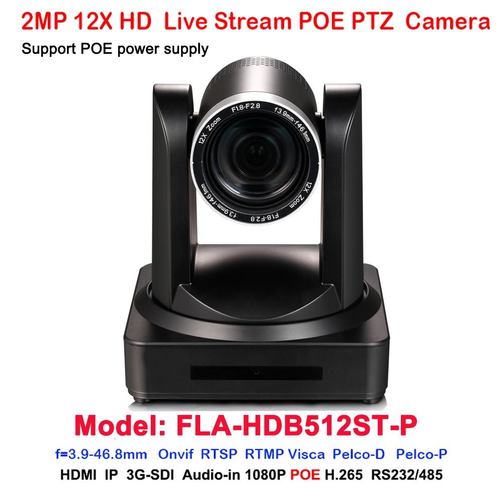 Full hd 1080p60fps 3G-SDI HDMI IP RJ45 réseau POE vidéo PTZ caméra 12x zoom optique H.264 H.265