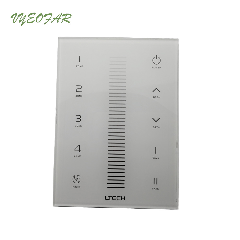 все цены на Led Dimmer Controller Glass Touch Panel 2.4GHz RF DMX512 Dimming Multi-zone 4 Zone Wireless Led Strip Dimmer Control UX5 онлайн