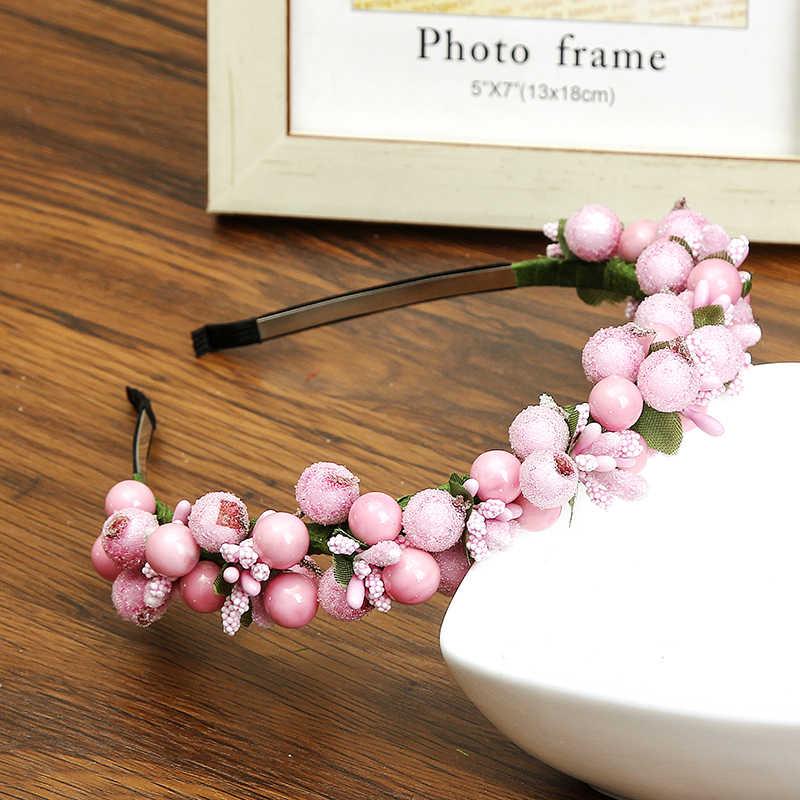 ... Haimeikang Bezel Glass Beads Rose Flowers Wreath Wedding Bridal Girls  Women Fashion Headwear Floral Headband Hair 2f29c6883324