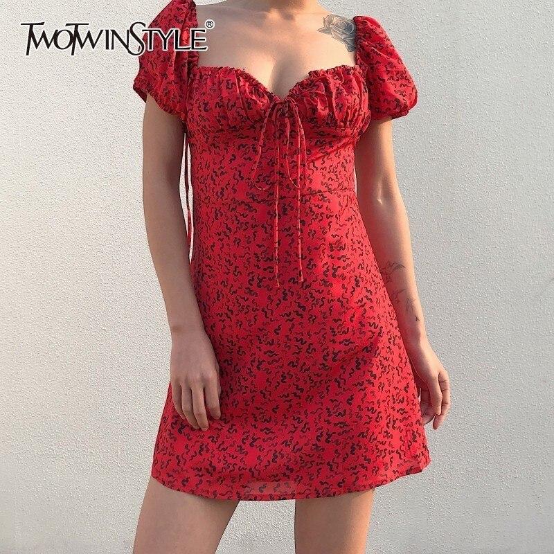 TWOTWINSTYLE Sexy Printed Dress Women Puff Sleeve High Waist Bandage Slim Mini Party Dresses Female Fashion