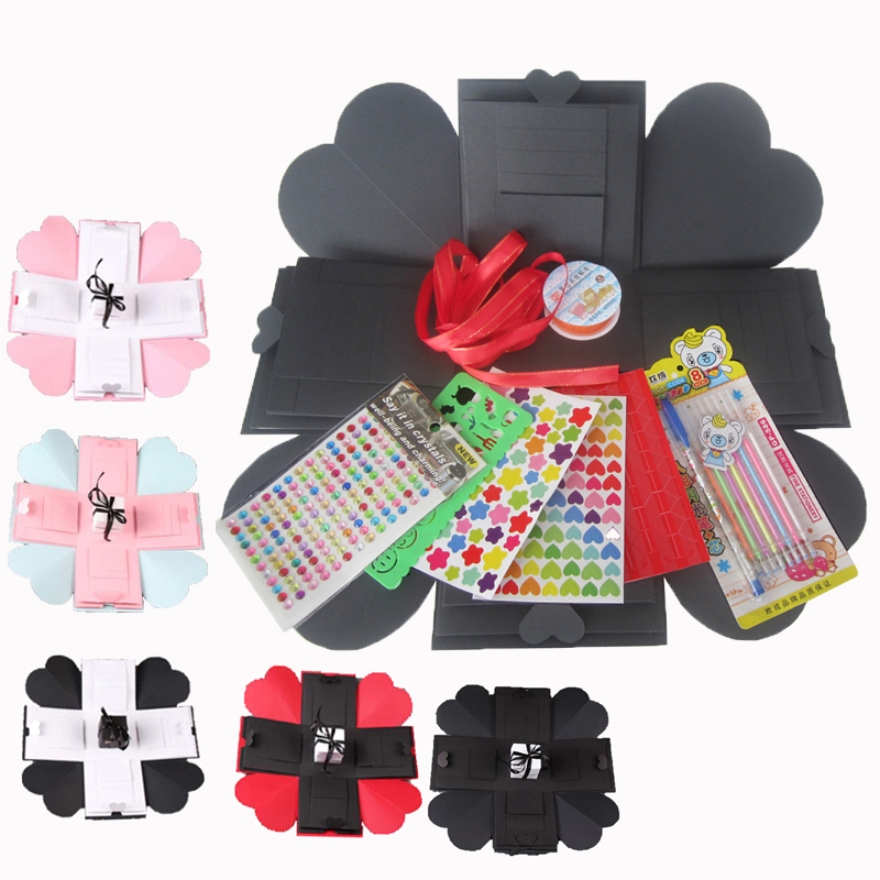 1pcs Multi Color Diy Surprise Love Explosion Box With Accessories Square Scrapbook Birthday Boxes Gifts