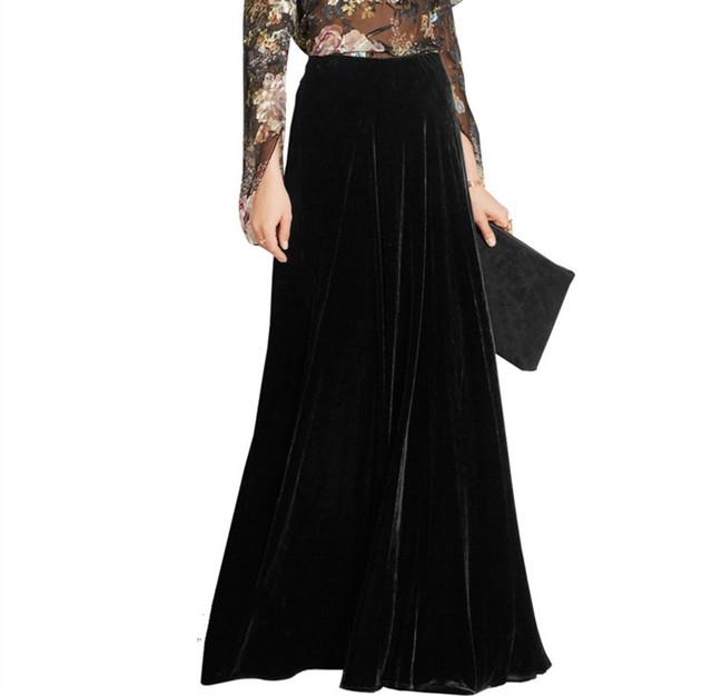 Caliente larga faldas para mujer otoño invierno más tamaño 6xl 7xl alta cintura flare a-line palabra de longitud maxi de la vendimia de terciopelo falda 2017