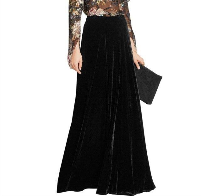 e16def31a51 WBCTW Long Warm Skirts Women Autumn Winter 9XL 10XL Plus Size 2019 High  Waist Flare A-line Velvet Vintage Black Maxi Skirt