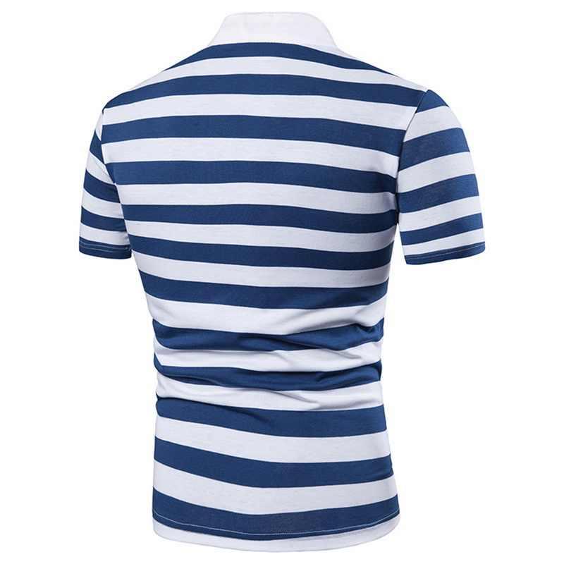 2019 Летняя мужская классическая красочная полосатая рубашка поло дизайн мужские рубашки поло с коротким рукавом тонкие мужские топы повседневная мужская одежда