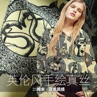 Handgeschilderde cartoon zijde twill 25mm zware zijden stof zijde katoen shirt kleding doek