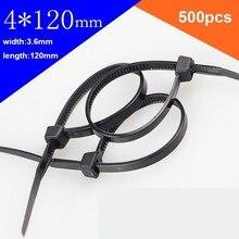 500pcs/lot 4*120mm 3.6mm width National Standard Nylon Tie Plastic Fixed Buckle Lock Type Label Sign Black/White