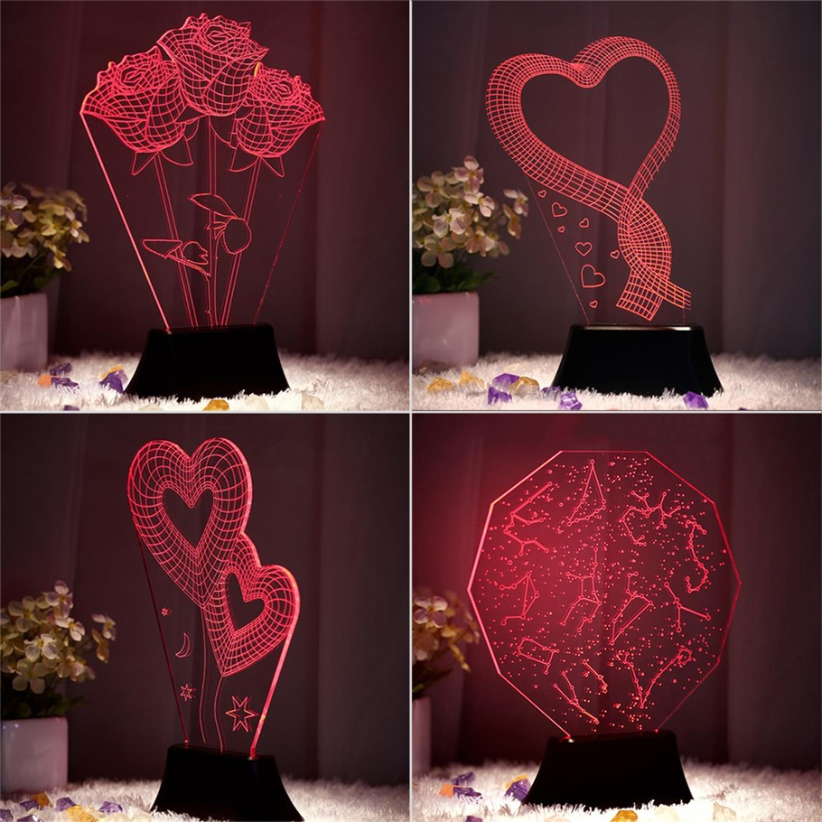 Chrome night lamps - Amazing 3d Illusion Bulbing Four Patterns Led Night Light Deco Table Lamp
