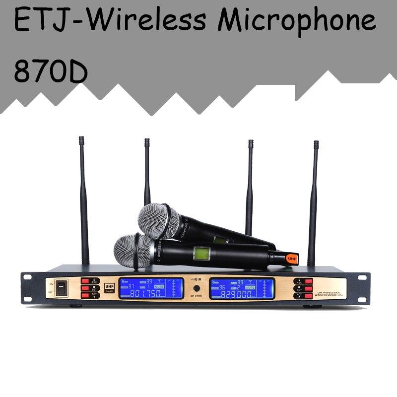 ETJ Brand True Diversity Professional Dual UHF Wireless Microphone 2 Transmitter 4 Receiver Stage Performance Microphone 870D true diversity uhf microphone professional wireless microphone system for stage u 6000