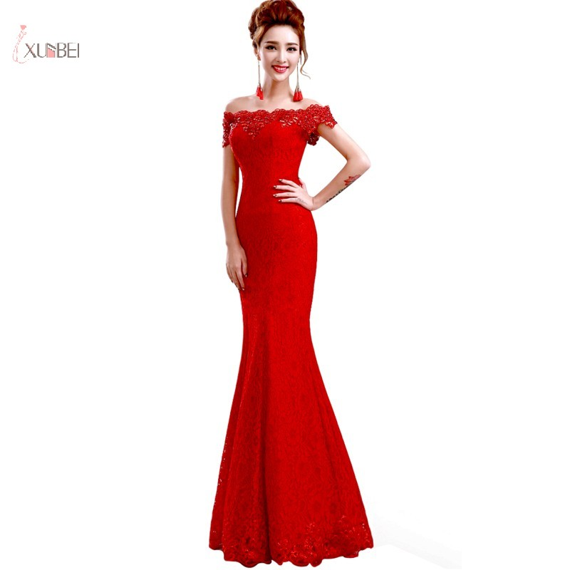 2019 Elegant Red Mermaid Lace   Cocktail     Dresses   Off The Shoulder Sleeveless Long Party Gown robe   cocktail