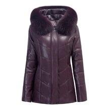 2017 new winter women coat plus size XL-6XL warm outwear wool leather jacket slim was thin thick parka female Hooded Down Jacket