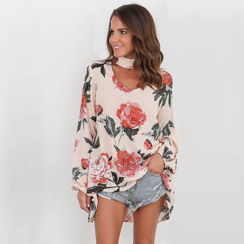 Women 39 s Digital Printing Loose V Neck Top Casual Women Wear Sexy Tops in Blouses amp Shirts from Women 39 s Clothing