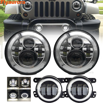 Flyaurora 1 set 7 inch LED Headlight DRL W/ Turn Signal 4 inch fog light for 97-17 Jeep Wrangler JK TJ & Wrangler Unlimited