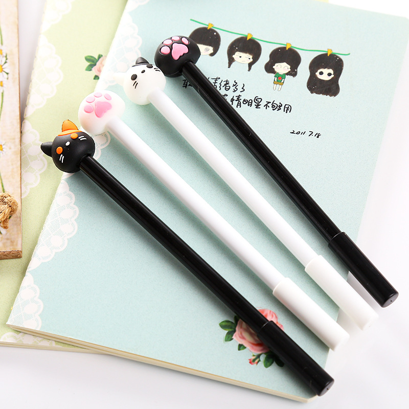 Cute Kawaii Cartoon Cat Plastic Gel Pen Creative Claw Pens For Kids Writing Gift Korean Stationry Free Shipping 3937 creative business gift holiday gift pen writing pen gorgeous high end gift signature pen cute lady writing pen