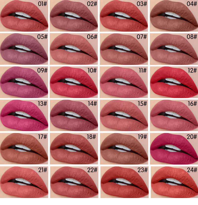 HABIBI BEAUTY Makeup Matte Lipstick 24Colors Vevet Long Lasting Kissproof  All Day Lipstick Best Selling 2018 For Girls