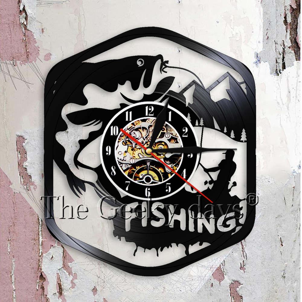 Fly Fishing Sign Fishing Party Man Cave Decor Modern Wall Clock Big Fish On The Hook Vinyl Record Wall Clock Fisherman Dad Gift