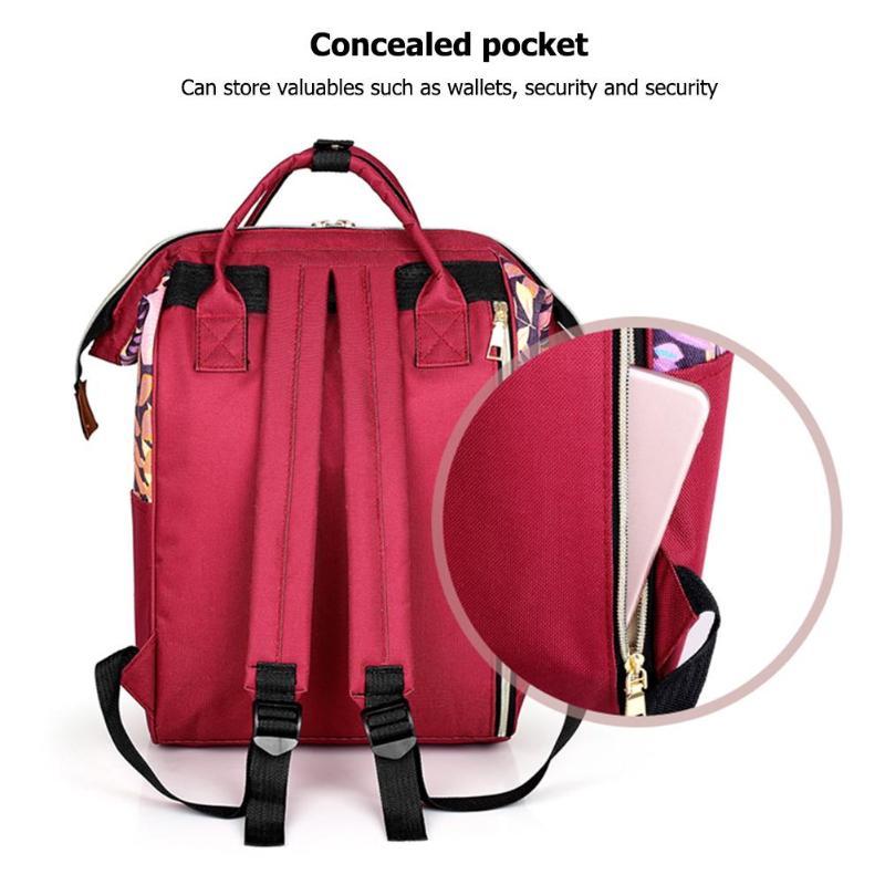 Large capacity Mummy Maternity Travel Backpacks Nylon Plant Print 2019 Stylish Baby Diaper Shoulder Bags Daily Casual Travel New