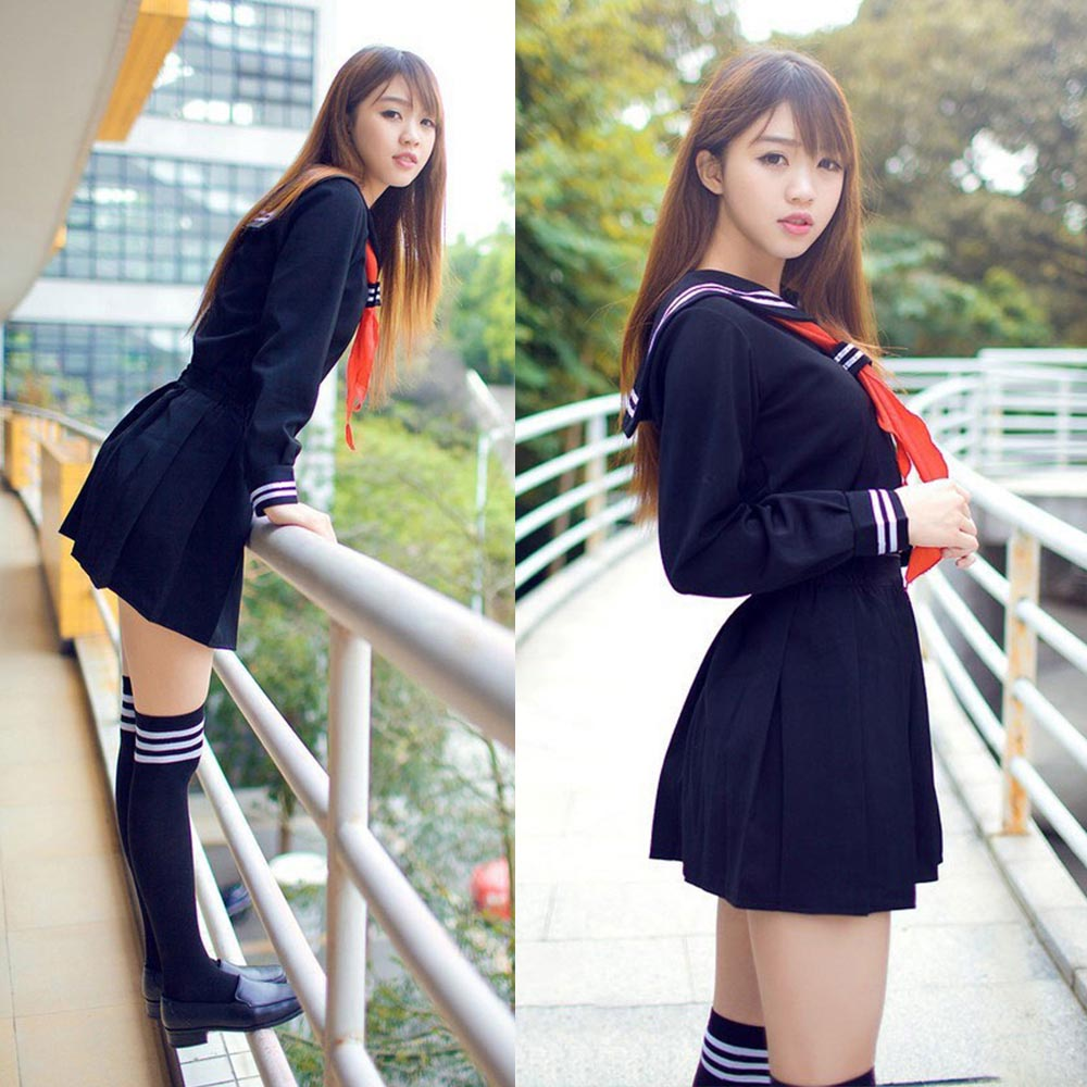 Anime Hell Girl Cosplay Costume School Sailor Uniform Suit Student - Կարնավալային հագուստները - Լուսանկար 3