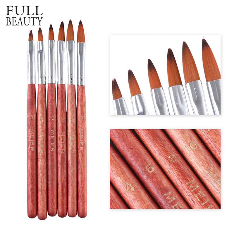 6pcs Crystal Acrylic Salon Nail Art Brushes Mixed Size Liquid Powder Builder Nail Pen Drawing Paint Manicure Accessories CH819