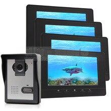 DIYSECUR 7inch Video Intercom Video Door Phone Doorbell 600 TVLine IR Night Vision Camera 4 Monitors 800 x 480 Black