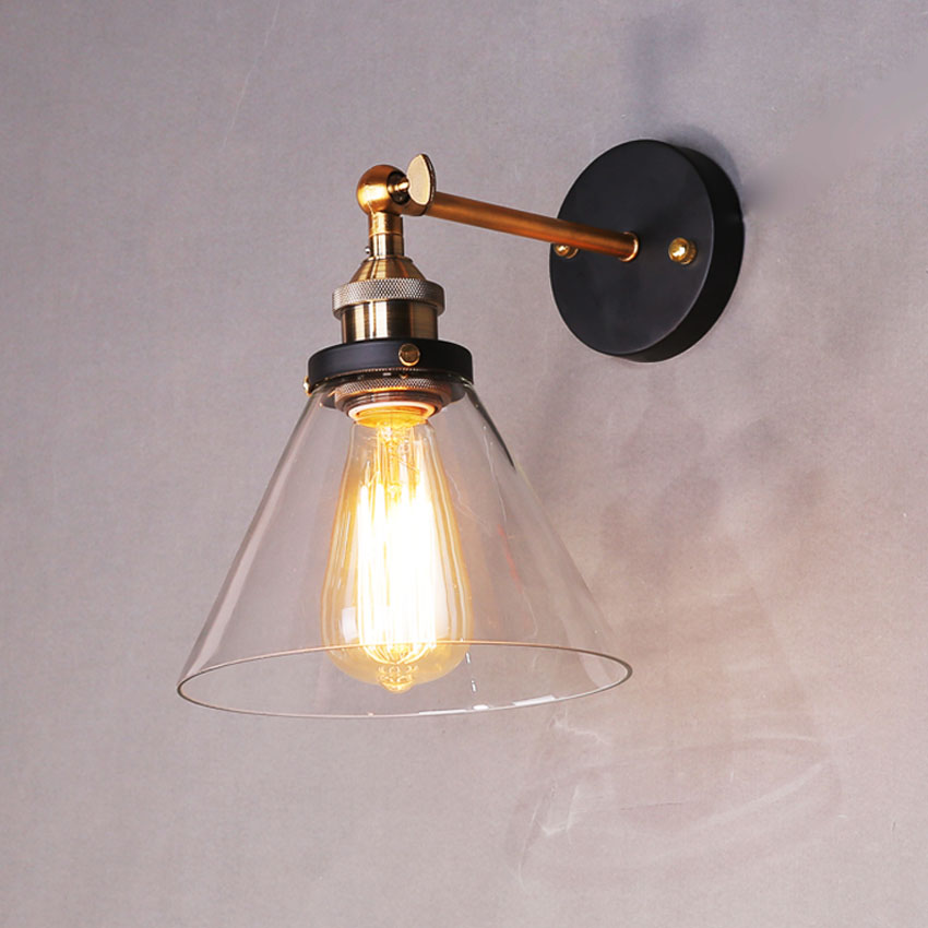 Retro Vintage wall Lights Clear Glass Lamshade Loft wall Lamps E27 110V 220V for Dinning Room Home Dcoration Lighting