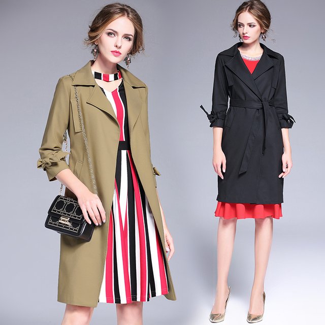 2017 Fashion Trench Coat Spring Autumn Women's tailored collar Long slim Overcoat Female Gabardina Mujer Trench Coats sashes6217