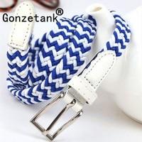Gonzetank 2017 Women Elastic Canvas Belts Candy Color Leather Casual Lady Waistband Length 100*1.2CM Sale Wholesale Purchasing
