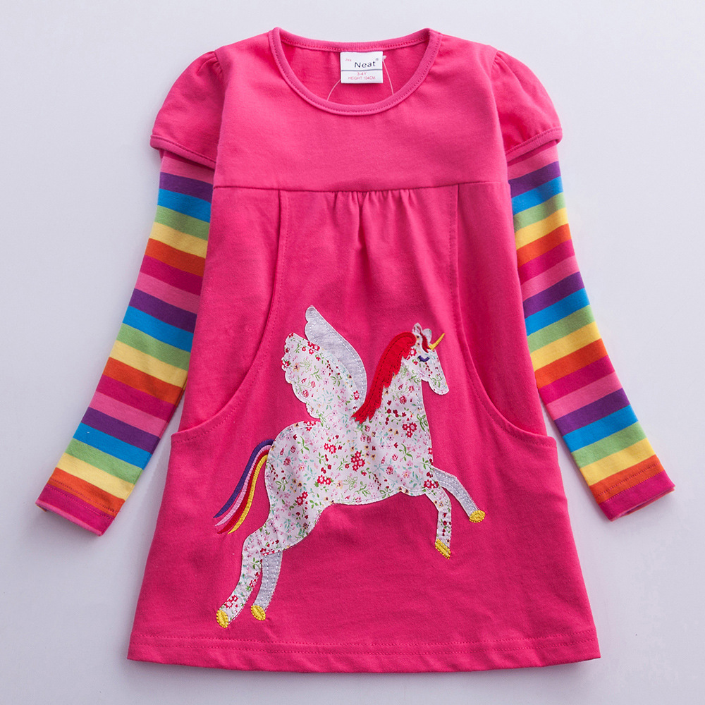 Spring 2019 Girls Dress Cotton Long Sleeve Unicorn Floral Kids Dresses for Girls Unicorn Party Children Cartoon Vestidos Girls in Dresses from Mother Kids