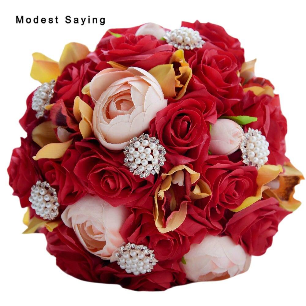 Pack avec boîte magnifique fleurs artificielles faites à la main Rose rouge Bouquets de mariage 2017 mariée demoiselle d'honneur Bouquet accessoires de mariage