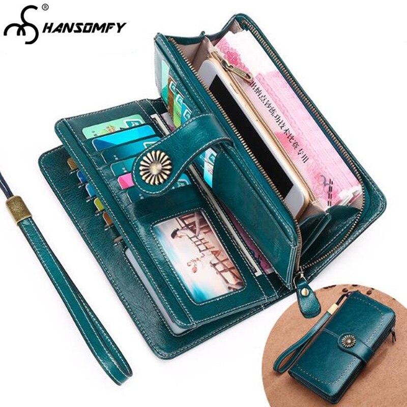 Nouveau portefeuille long femme Anti-magnétique en cuir véritable portefeuilles grande capacité pochettes porte-carte de crédit porte-monnaie