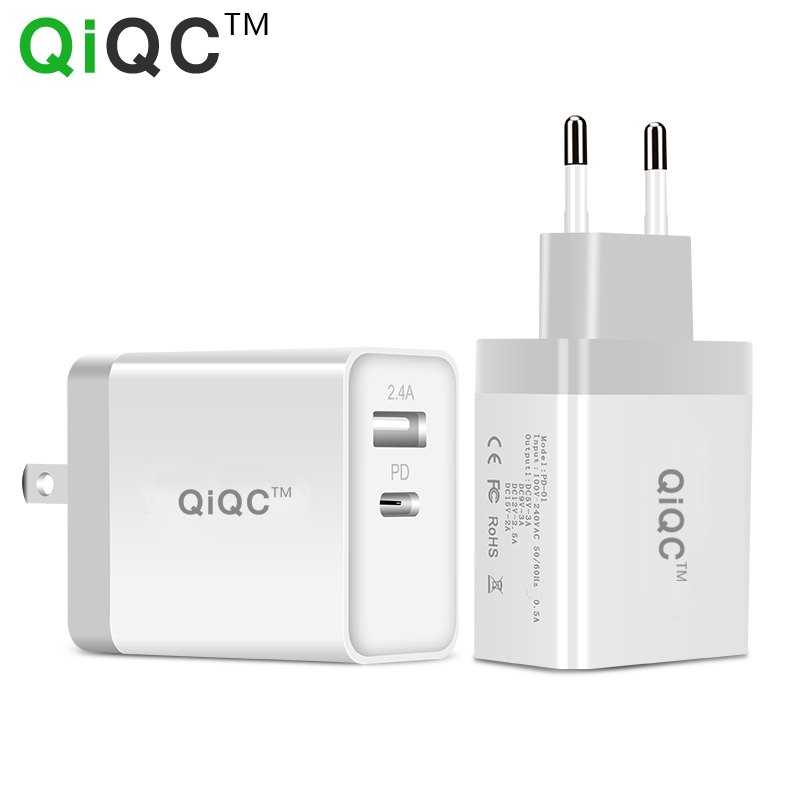 QiQC 30W USB PD Charger Power Fast Charger Type C 2 Ports Travel Wall Quick Chargers for iPhone X 8 8 Plus New Macbook EU/US