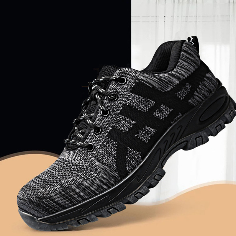 Высококачественная защитная обувь со стальным носком; Мужская Рабочая обувь; унисекс; дышащая рабочая обувь из сетчатого материала; большие размеры 37-46; резиновая обувь - Цвет: grey
