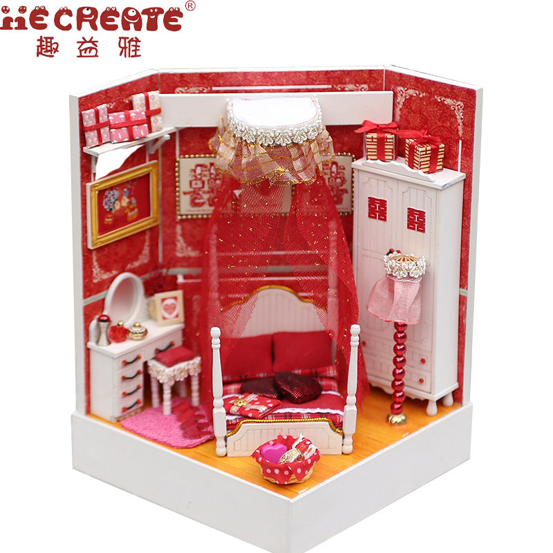 Кукольный дом DIY игрушка рождественские подарки Миниатюрная модель Строительство Наборы Свадебные номер брак Кукольный дом мебели Puzzle игр...