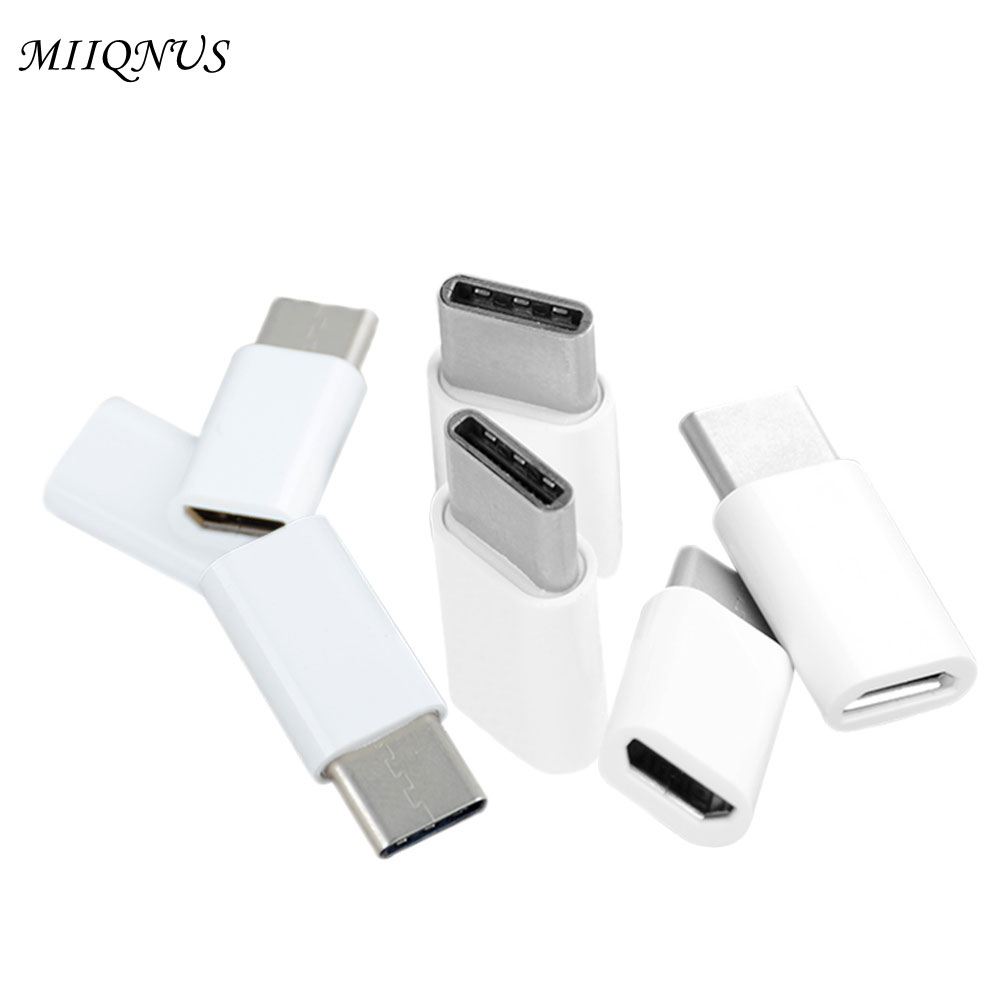 5 pcs USB 3.1 Type C Male to Micro USB Female Adapter Converter Connector USB-C Phone upgrade type-c to Phone white