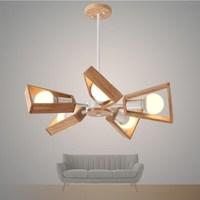 Solid Wooden creative ceiling lights restaurant Japanese minimalist modern study bedroom log ceiling lamp 5 heads lamps MZ144