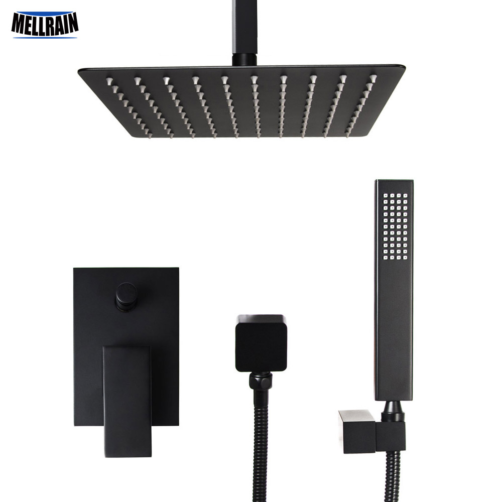 Bathroom square design in ceiling mounted shower set black plated bath diverter mixer faucet 8/10/12 inch rain shower head new chrome 6 rain shower faucet set valve mixer tap ceiling mounted shower set