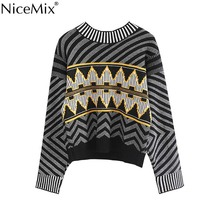 hot deal buy nicemix spring casual knitted argyle sweater women jumpers geometric harajuku pullovers korean streetwear pull femme hiver 2019