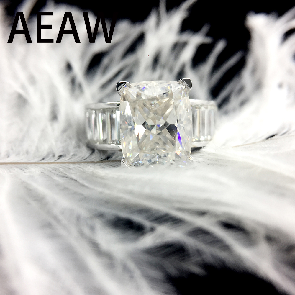 AEAW Moissanite Engagement Ring Radiant Cut 4ct in 14K White Gold for Women