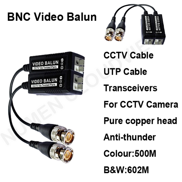 US $49 9 |2014 Good UTP video balun BNC video Transceivers Pure copper head  lightning protection CCTV spare parts for cctv camera and DVR-in