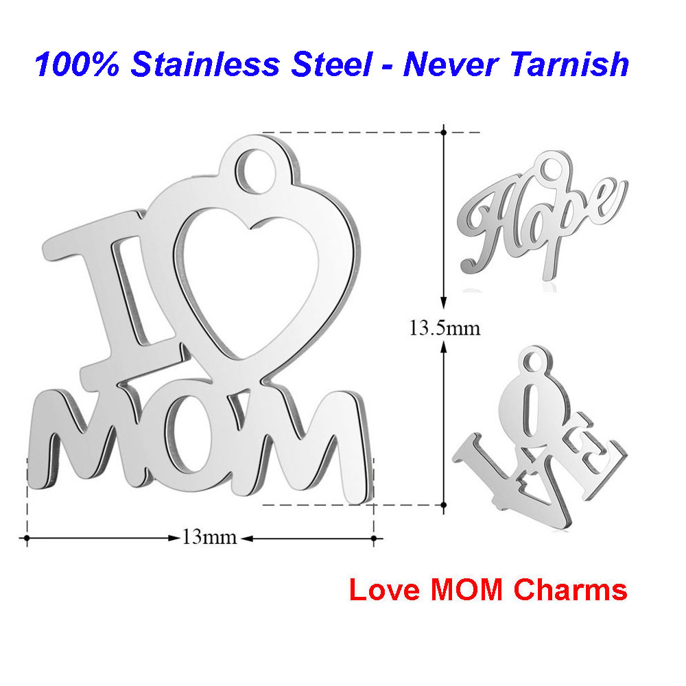 10pcs/lot 100% Stainless Steel I Love Mom Charms VNISTAR High Polished Best Mom Tag Hope Soul Faith DIY Jewelry Finding Supplies image